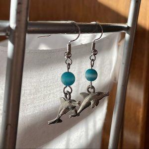 Dolphin Tibetan Silver Earrings